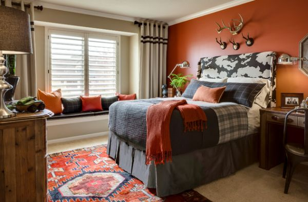 Refined teen bedroom with a splash of orange