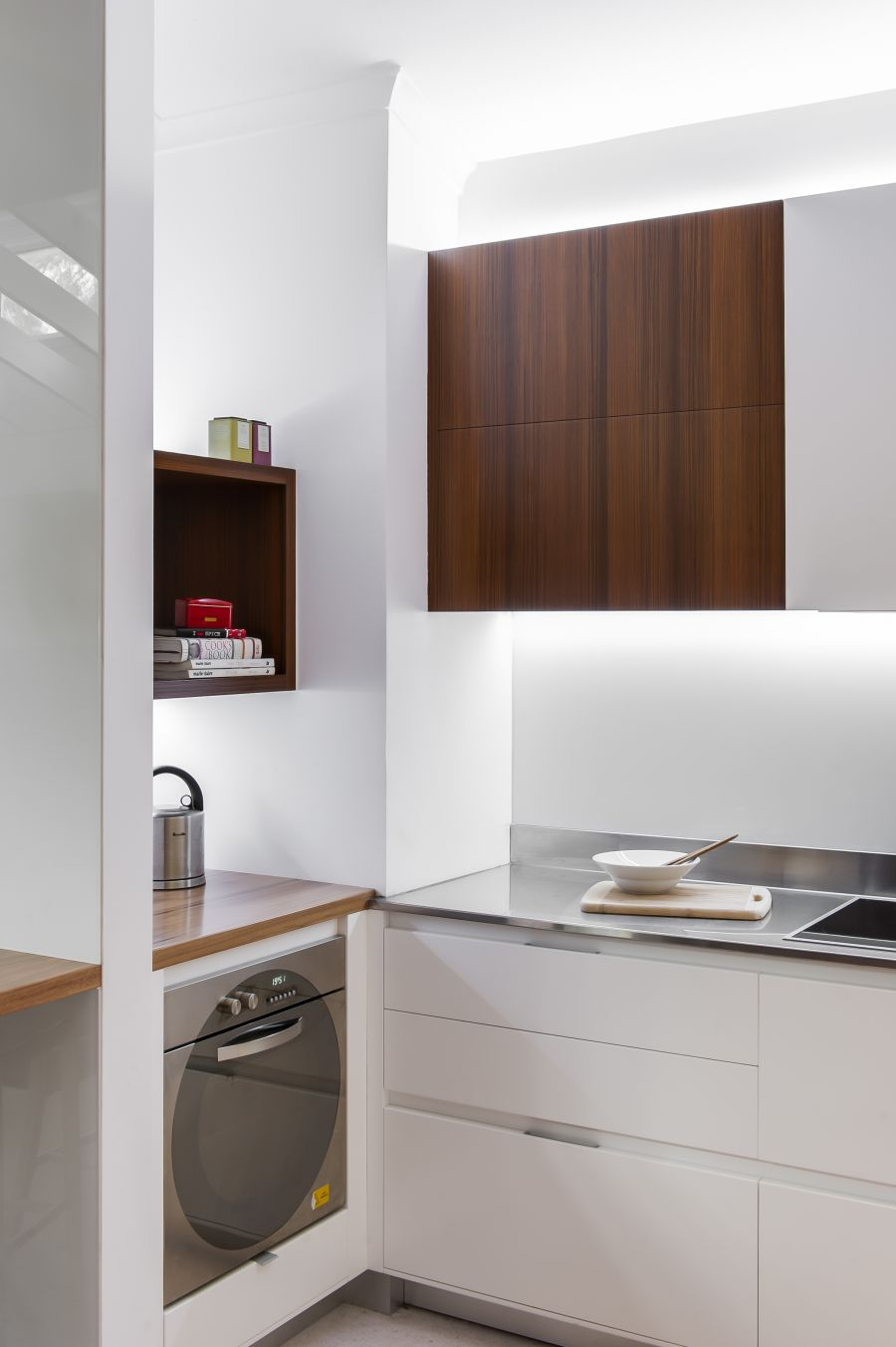 small contemporary kitchen makes room for home office and