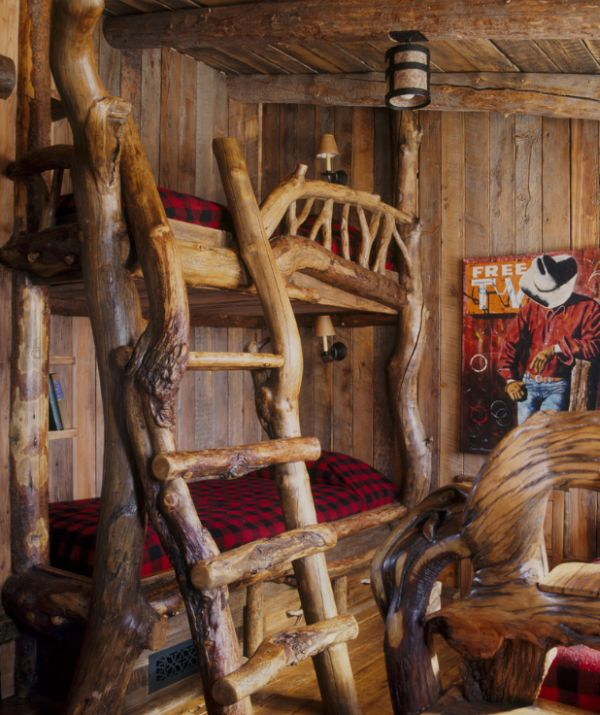 Rustic cabin-styled bedroom with innovative an bunk bed