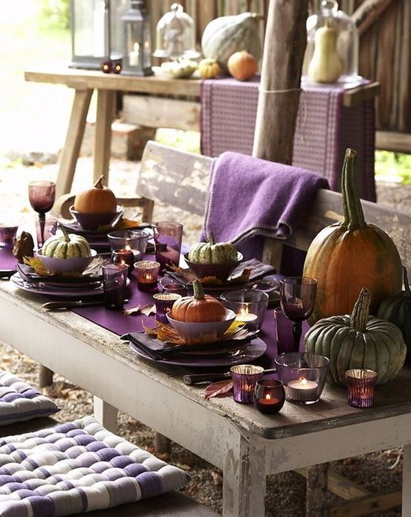16 Thanksgiving Decor Ideas In Purple : Rustic styled outdoor Thanksgiving table idea from www.decoist.com size 600 x 755 jpeg 92kB