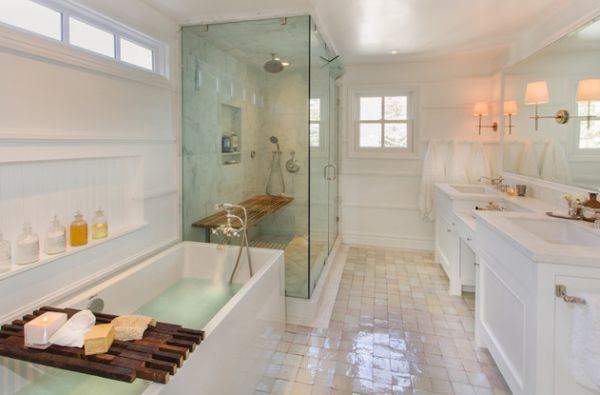 View In Gallery Rustic Wooden Bench Inside The Steam Shower Stands Out In  The Modern Bathroom