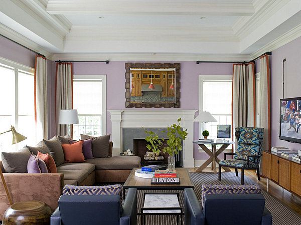 Shades of lavender, coral and blue in a light-filled living room