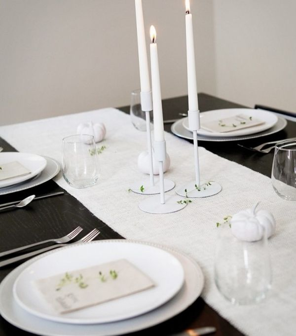 ... Simple and stylish use of candles & Black And White Thanksgiving Decor Ideas