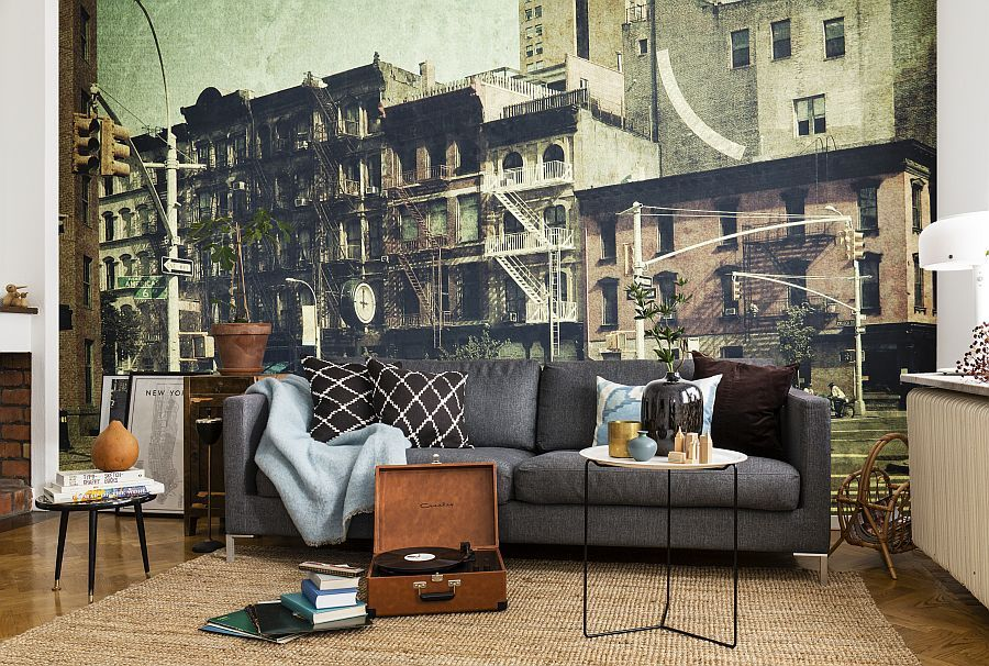 Sixth Avenue wall mural in the living room