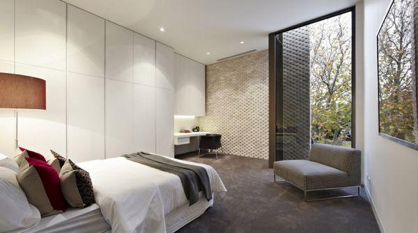 Sleek and modern bedroom with plenty of shelf space