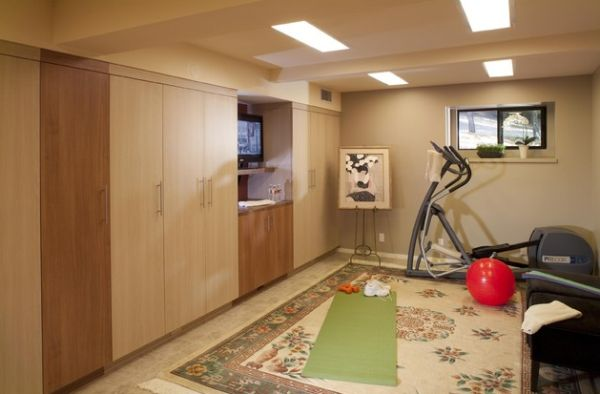 Small basement home gym and yoga area