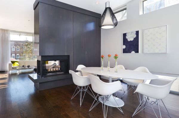 Smart design of the dining room fireplace