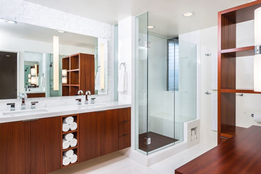 Smart towel display and storage shelves
