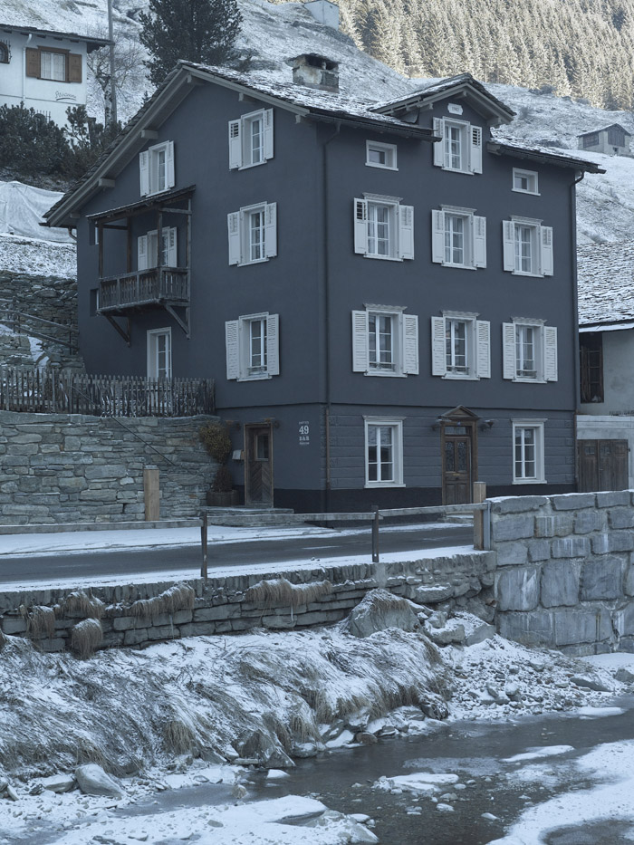 Snow covered streets of Vals