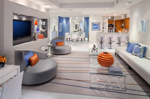 Sophisticated Bachelor Pad With Pops Of Bright Orange