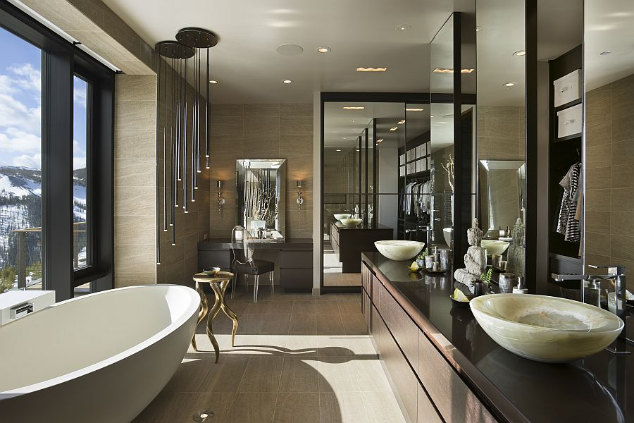 Private luxury ski resort in montana by len cotsovolos for Bathroom interior design photo gallery