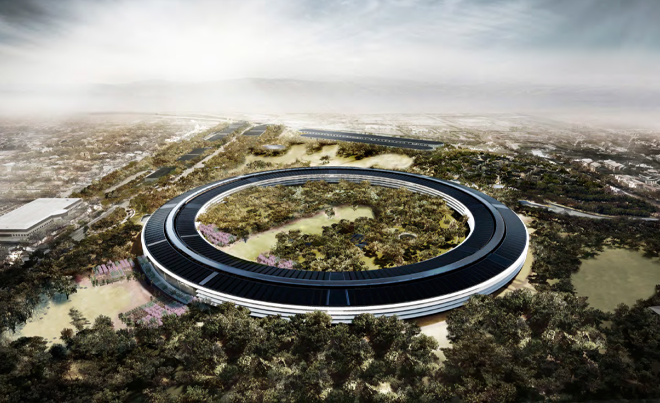 Spaceship styled Apple campus in Cupertino