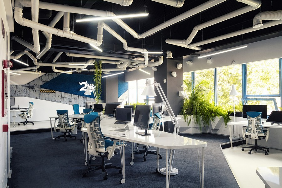 styled office design romania imaginative spaceship themed office