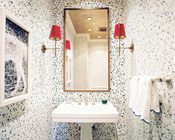 Splatter wallpaper in a small bathroom