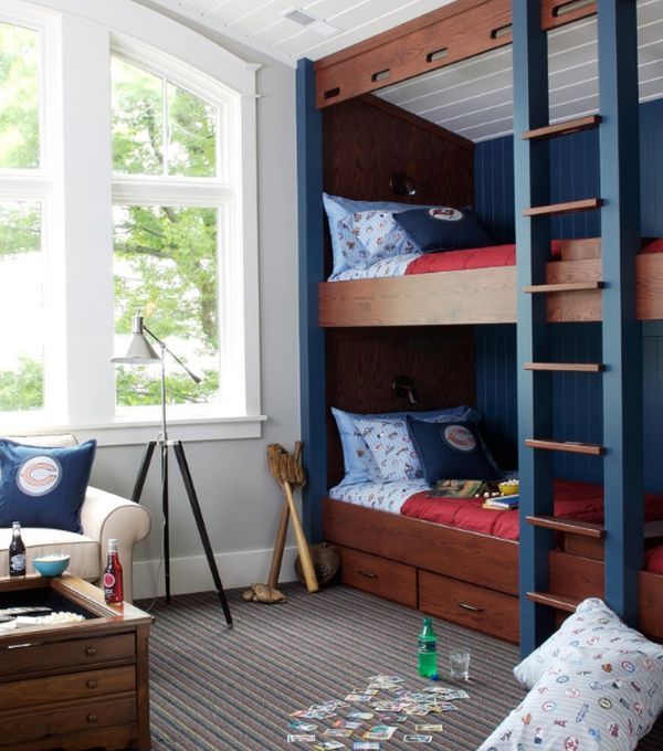 View In Gallery Sports Themed Kids Bedroom With Bunk Beds And Built Storage