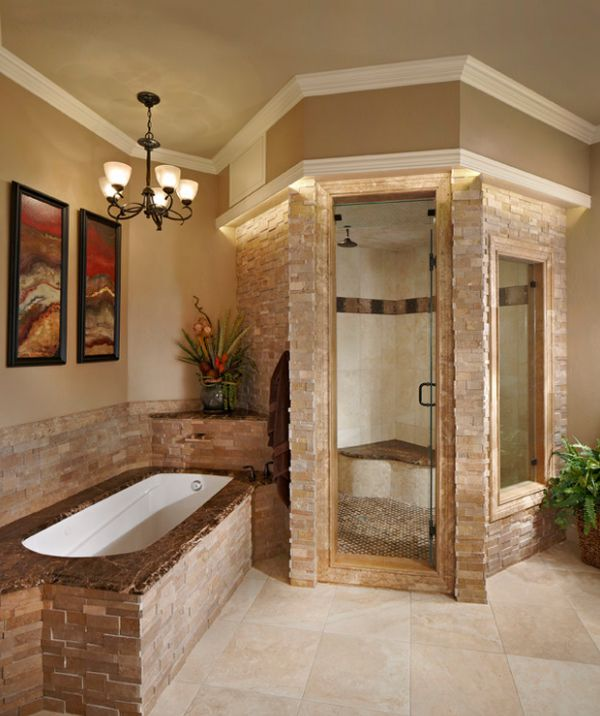Steam Room Design Ideas Part - 41: View In Gallery Stacked Stone Steam Shower Looks Classy And Elegant