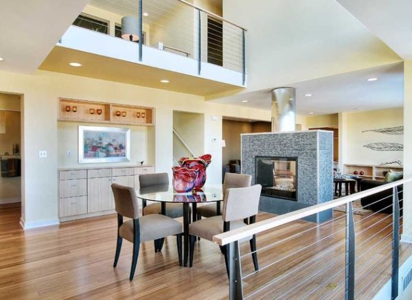 Standalone fireplace steals the show here