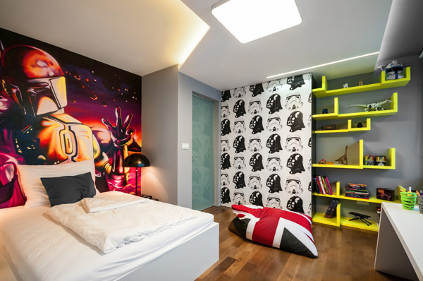 Star wars themed boys bedroom with hand painted murals Cool Boys Room Paint Ideas For Colorful And Brilliant Interiors