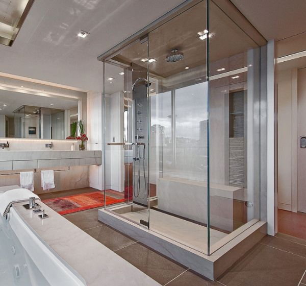 Steam shower enclosure seems like a room within a room