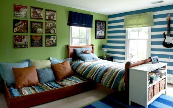 Stem green by Benjamin Moore combined with blue and white stripes