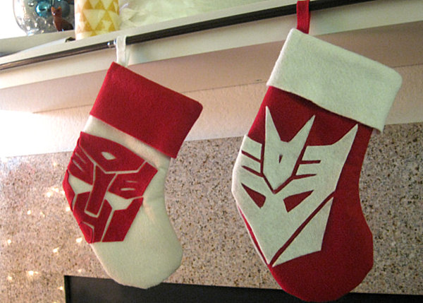 Stockings with a Transformers theme