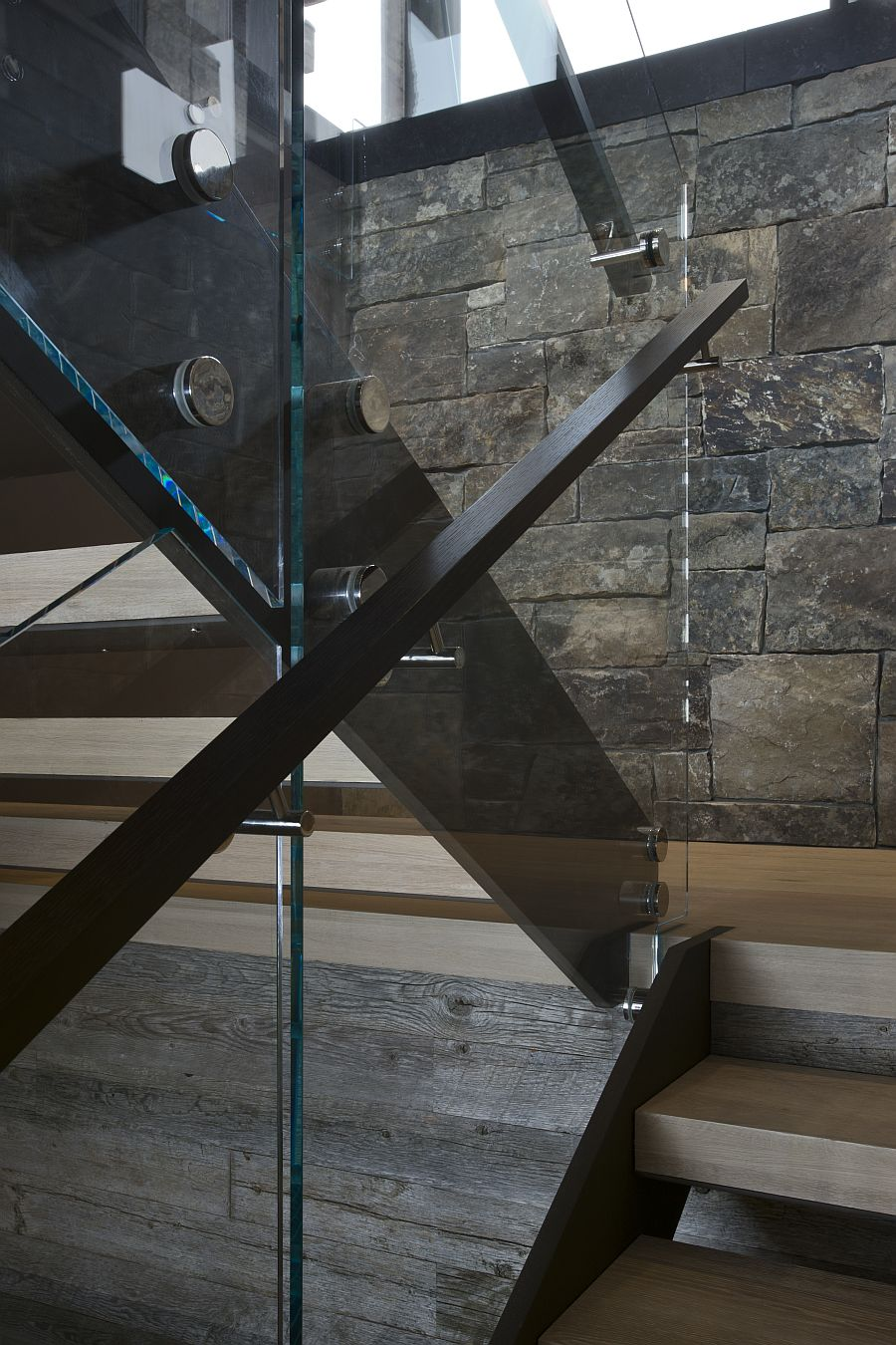 Stone and glass staircase design