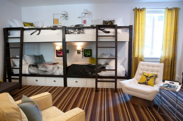 Striped carpet gives the room an urbane look