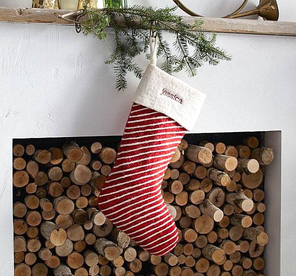 Striped felt stocking