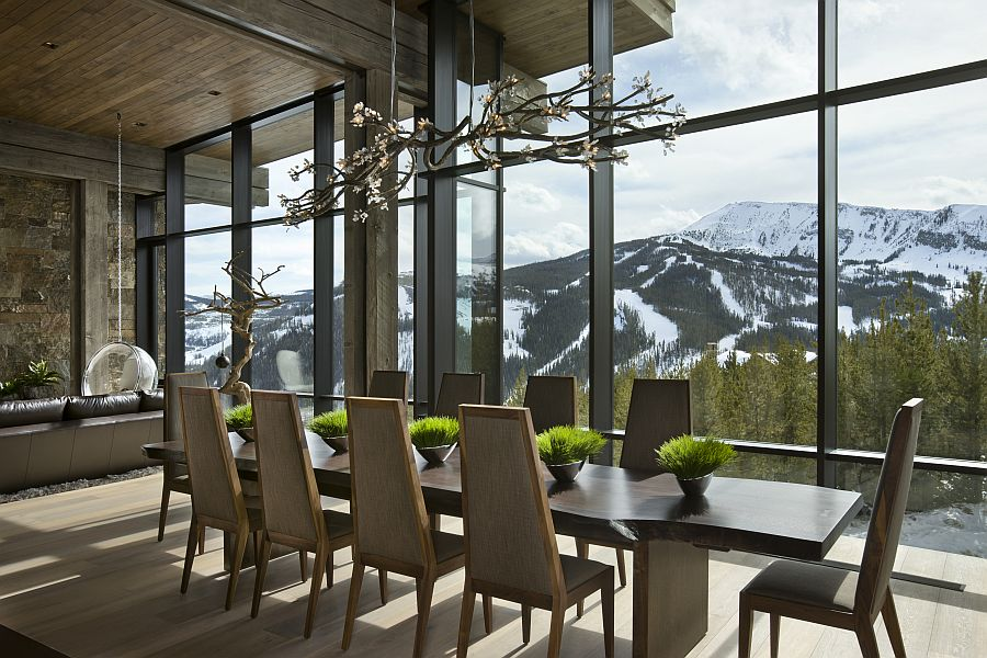 Stunning dining room with a view of the Rocky Mountains