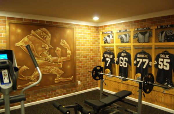 stunning wall mural in the home gym steals the show