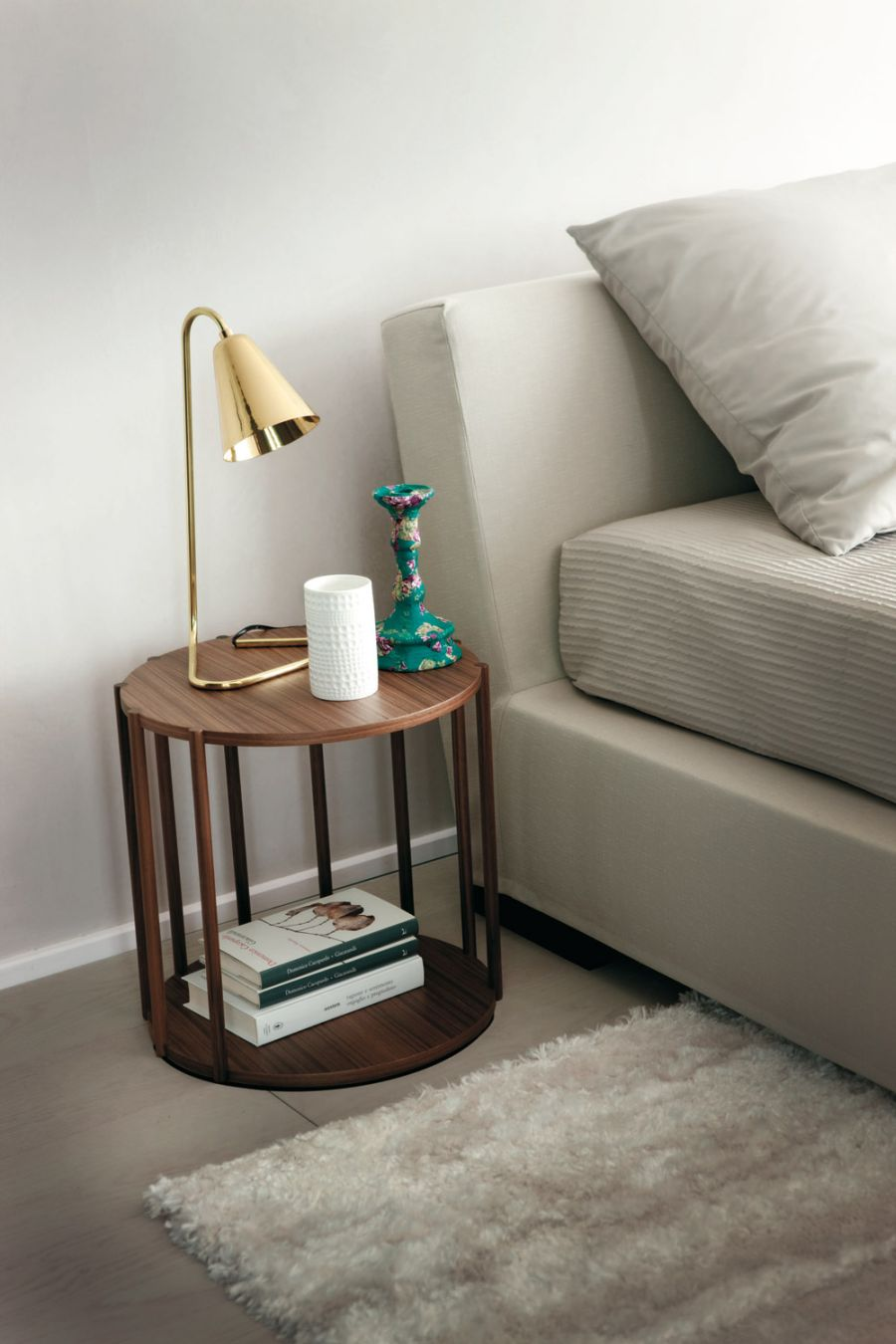 Stylish Cell side table in solid canaletta walnut