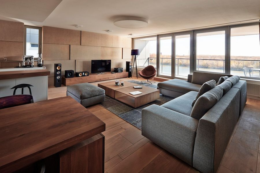 Stylish River Park Apartment in Bratislava Soothing Style and Relaxing Views Shape Posh Riverpark Apartment