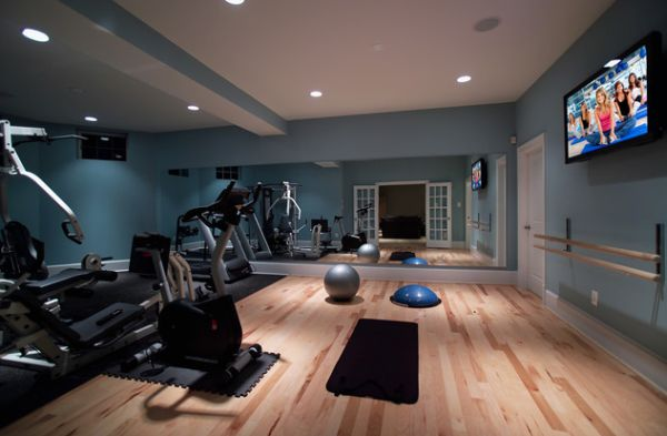 Stylish basement home gym and dance studio