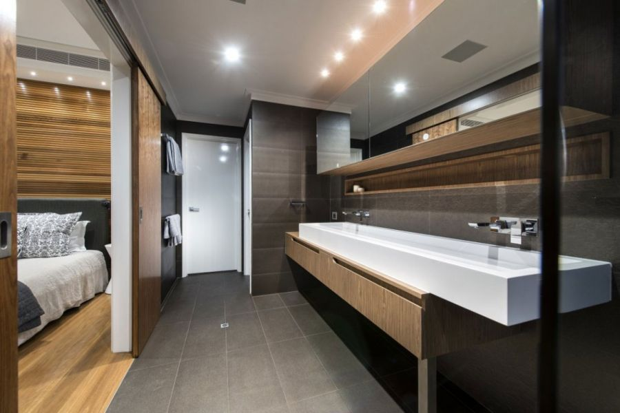 Stylish bathroom in grey
