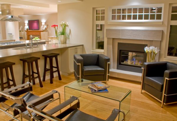 Stylish family room brings together the LC2 and the Wassily Chairs