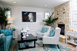 Stylish living room featuring shades of blue