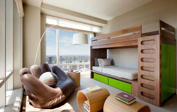 Stylish Bedroom With Cool Decor Additions Smart Bunk Bed Idea Is