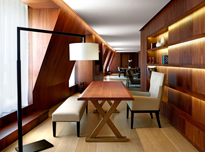 Stylish recessed lighting in the luxurious rooms