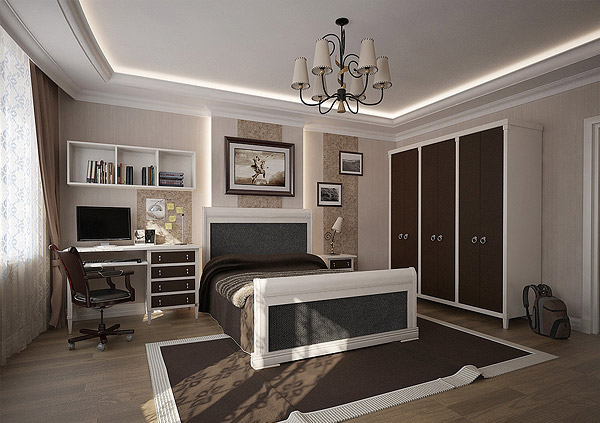 Stylish teenage boys' bedroom clad in brown and cream