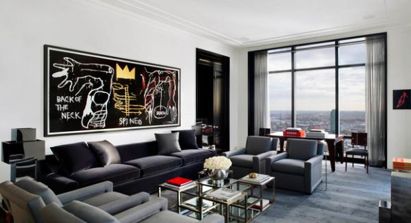 ... Stylish wall art decorating idea for bachelor pad living room