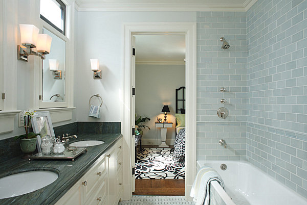 Subway tile in a modern townhome bathroom