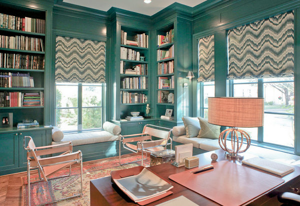 Teal blue office