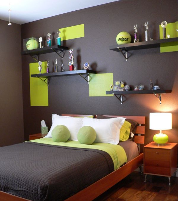 Beautiful Contemporary Boysu0027 Bedroom Features An Elegant Color Scheme View In Gallery  Tennis Ball Green Combined With Chocolate Makes A Dashing Color Palatte