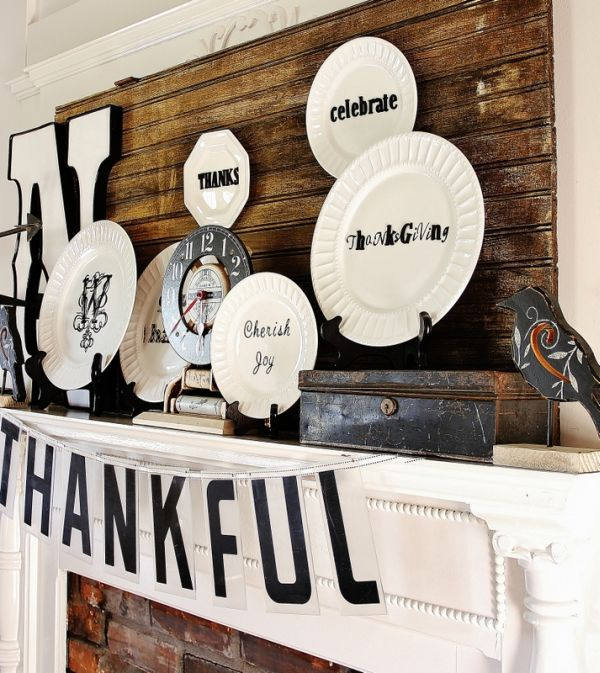Thanksgiving mantel in chic black and white