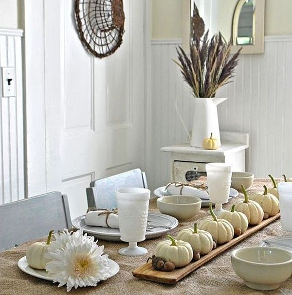 Thanksgiving table decorations in natural white