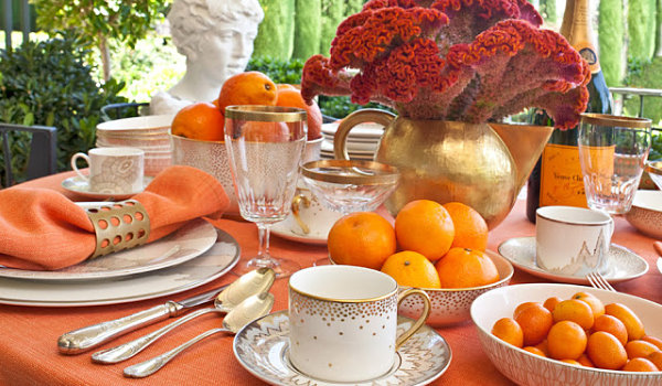 Thanksgiving table in orange hues