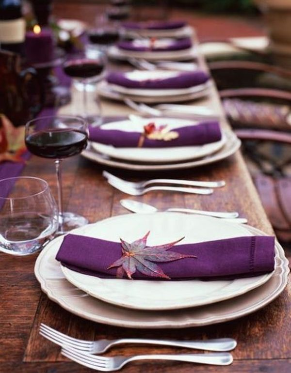 Thanksgiving table setting idea in purple and white