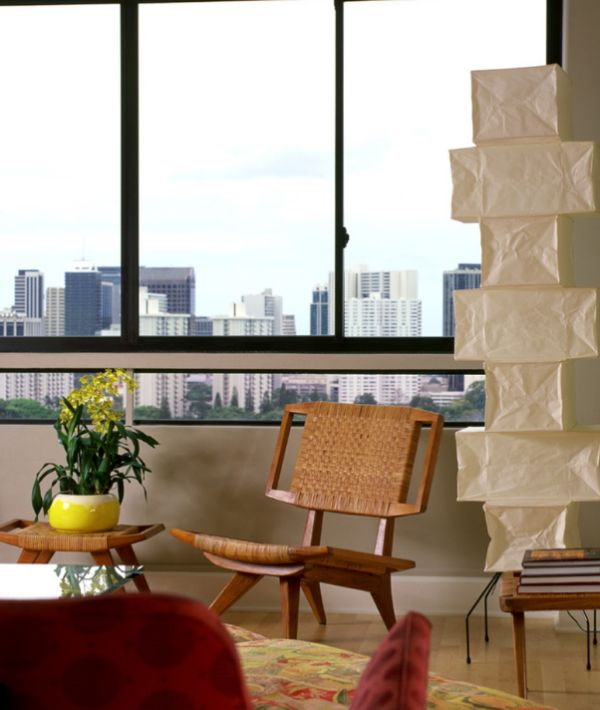 The towering Model UF4-L10 Noguchi lamp in the living room