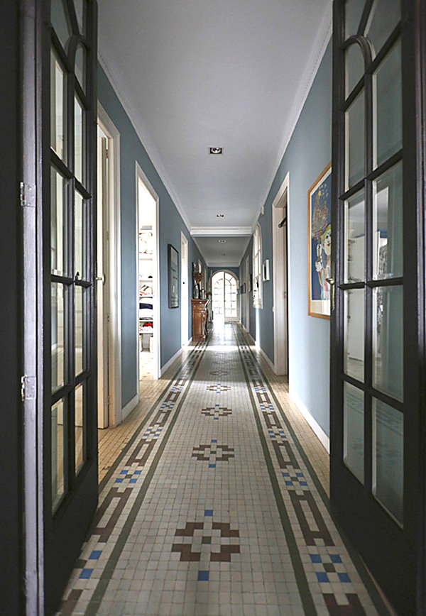 Tile floor in an elegant hallway