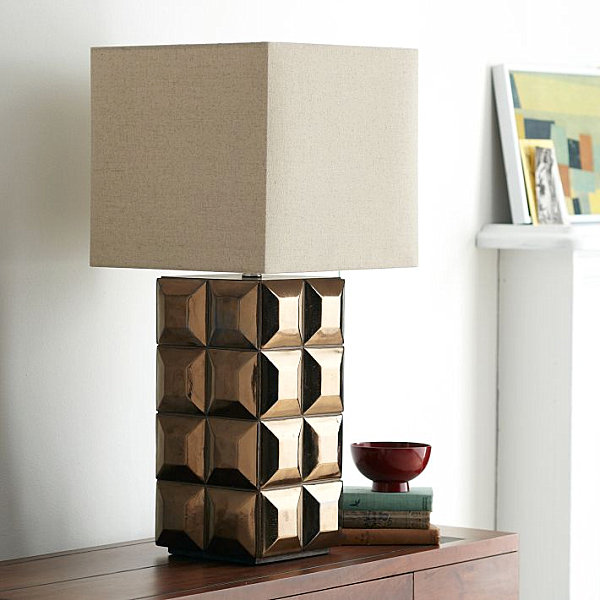 Tiled table lamp with a bronze finish